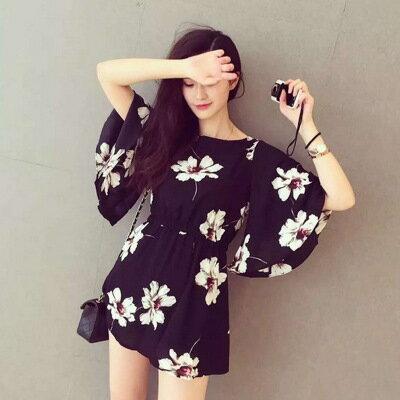 SaSa 歐美風時尚山茶花氣質優雅喇叭袖洋裝