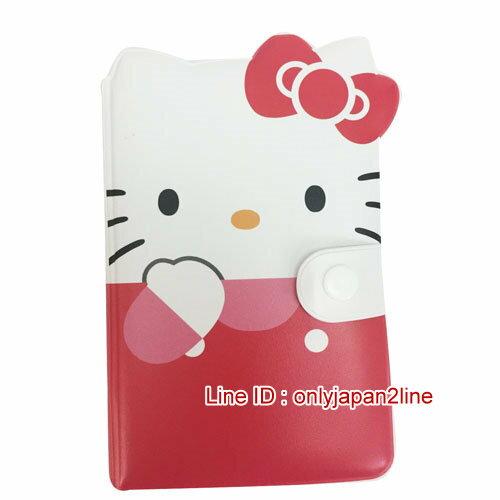【真愛日本】16121200009造型名片本-KT大臉紅  三麗鷗 Hello Kitty 凱蒂貓  名片冊 證件夾
