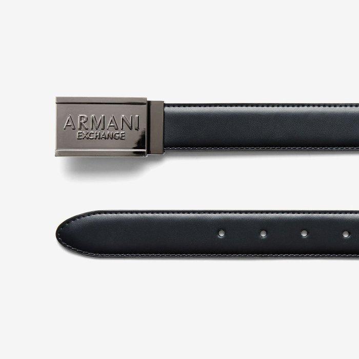 美國百分百【Armani Exchange】AX 男款 配件 皮帶 真皮 牛皮 腰帶 立體 浮雕 黑色 30腰 H794