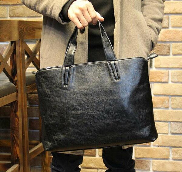 FINDSENSEZ1韓國時尚潮男PU軟皮休閒商務多功能手提包單肩包側背包電腦公文包背包