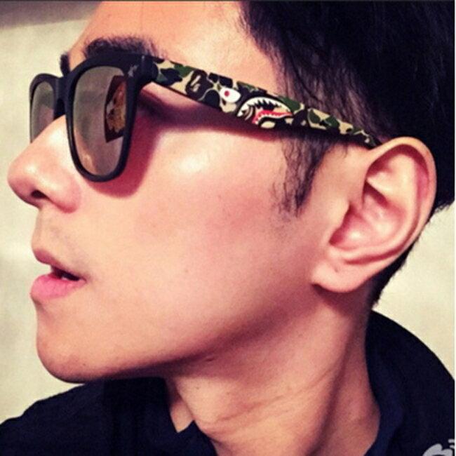 50%OFF【J011462Gls】新款猿人頭太陽鏡514 迷彩方框炫彩墨鏡鯊魚款彩膜太陽眼鏡附眼鏡盒