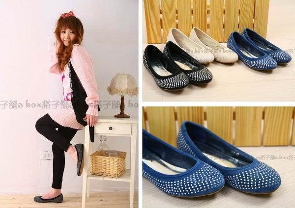 【AA367】VIVI雜誌款‧閃亮水鑽‧麂皮(娃娃鞋)圓頭平底包鞋-三色-現貨