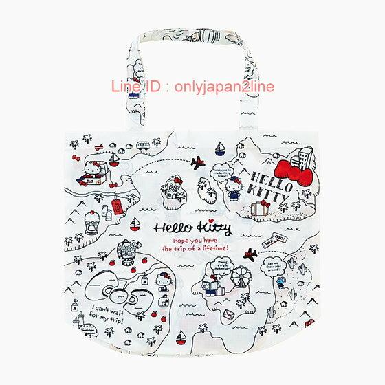 【真愛日本】17021500007  環保收納購物袋-KT旅行信封+AAB  三麗鷗 Hello Kitty 凱蒂貓  包包 手提包 肩背包