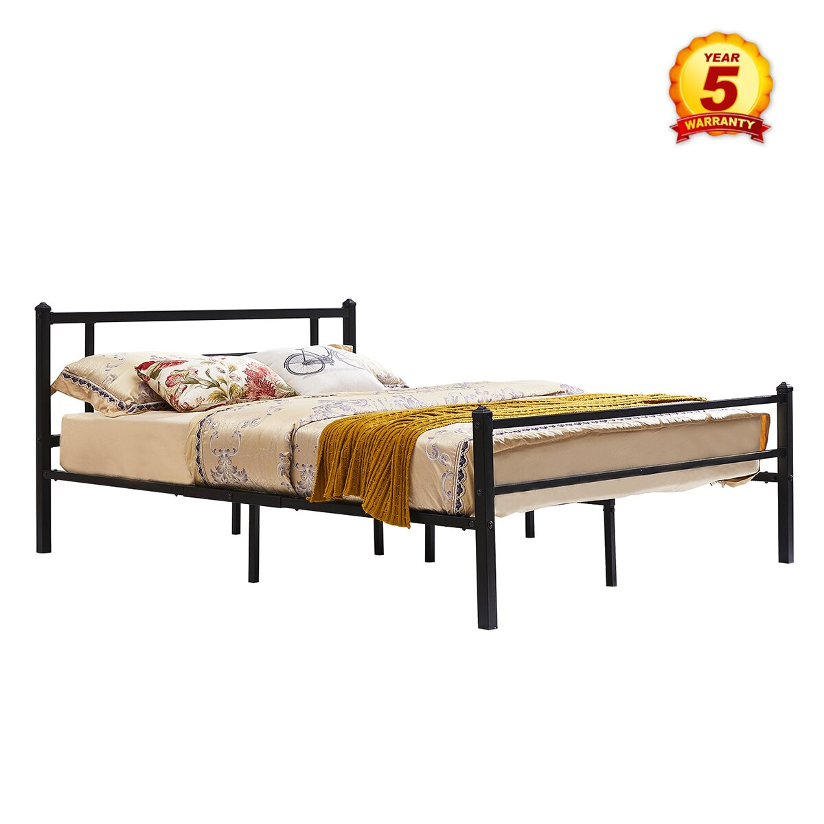 mcombo: Mcombo Metal Bed Frame with Headboard and Footboard,XL Twin ...