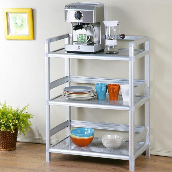 碗盤櫃 電器櫃 電器架 鋁架 收納架 櫥櫃 碗盤收納 廚房收納櫃 置物櫃 《Yostyle》鋁合金1.8尺三層置物架-黑花格
