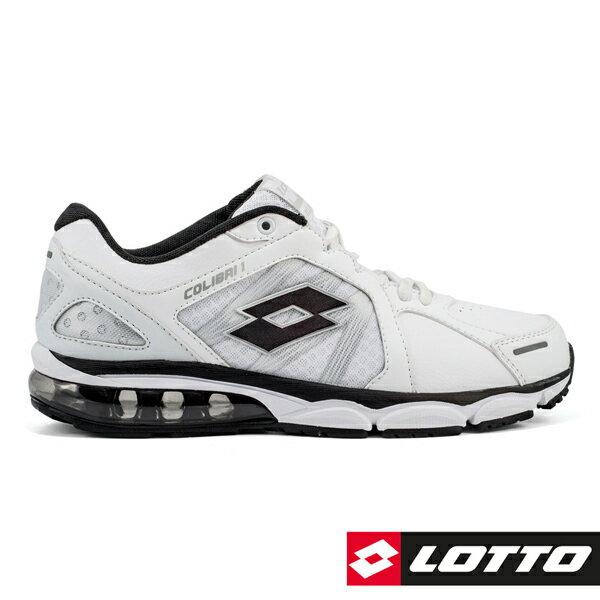 【巷子屋】義大利第一品牌-LOTTO樂得女款情侶款氣墊運動慢跑鞋[5558]白黑超值價$690