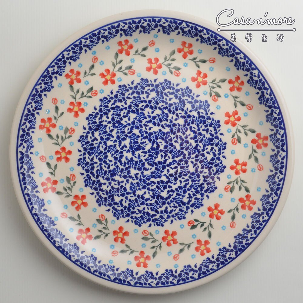 波蘭陶 藍印紅花系列 圓形餐盤 陶瓷盤 菜盤 點心盤 圓盤 沙拉盤 27cm 波蘭手工製 0