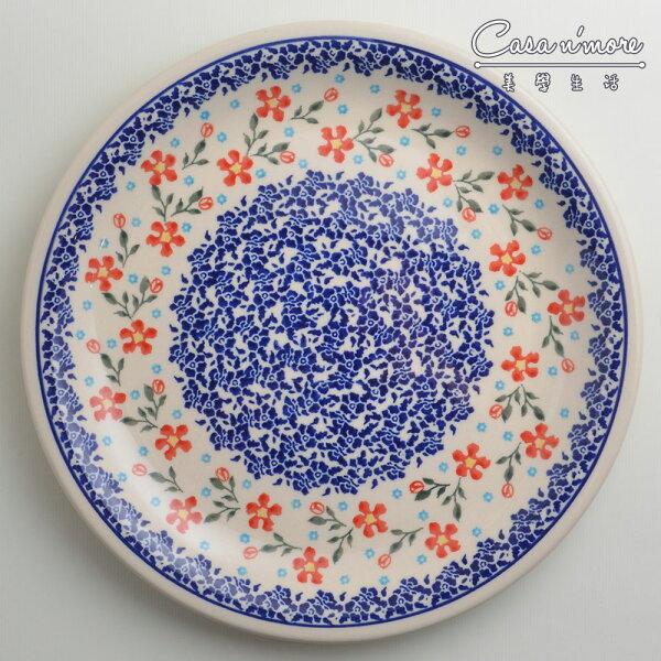 波蘭陶藍印紅花系列圓形餐盤陶瓷盤菜盤點心盤圓盤沙拉盤27cm波蘭手工製
