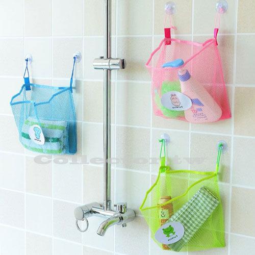 【F16100502】創意收納雙吸盤可掛式網袋 浴室廚房客廳居家好幫手 收納網袋 雜物儲物袋牆掛袋