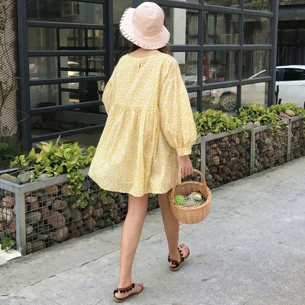 藍黃 刺繡 長袖 洋裝 泡泡袖 寬鬆 連衣裙 連身裙 短裙 花葉圖騰 顯瘦 高腰 娃娃裝 韓 ANNA S.