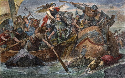 Vikings Raiding Na Norse Raid Under Olaf Tryggvesson C994 AD Wood Engraving After A Painting By Hugo Vogel Rolled Canvas Art - (18 x 24) 2ba3bf5e39b7f4fc283532281cad8652
