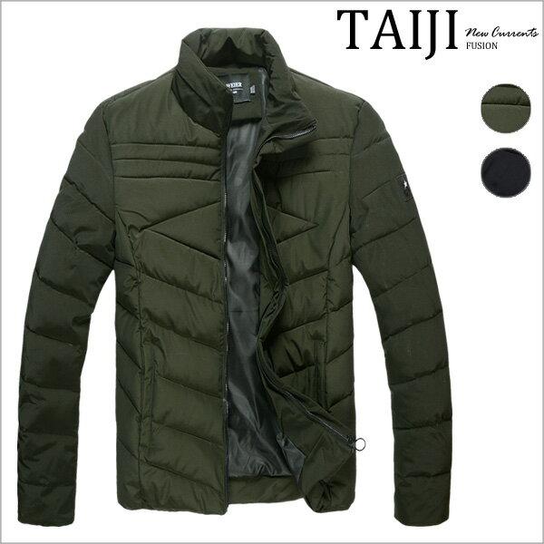 TAIJI:舖棉外套‧素色剪裁側標鋪棉立領防風外套‧二色【ND90519】-TAIJI-