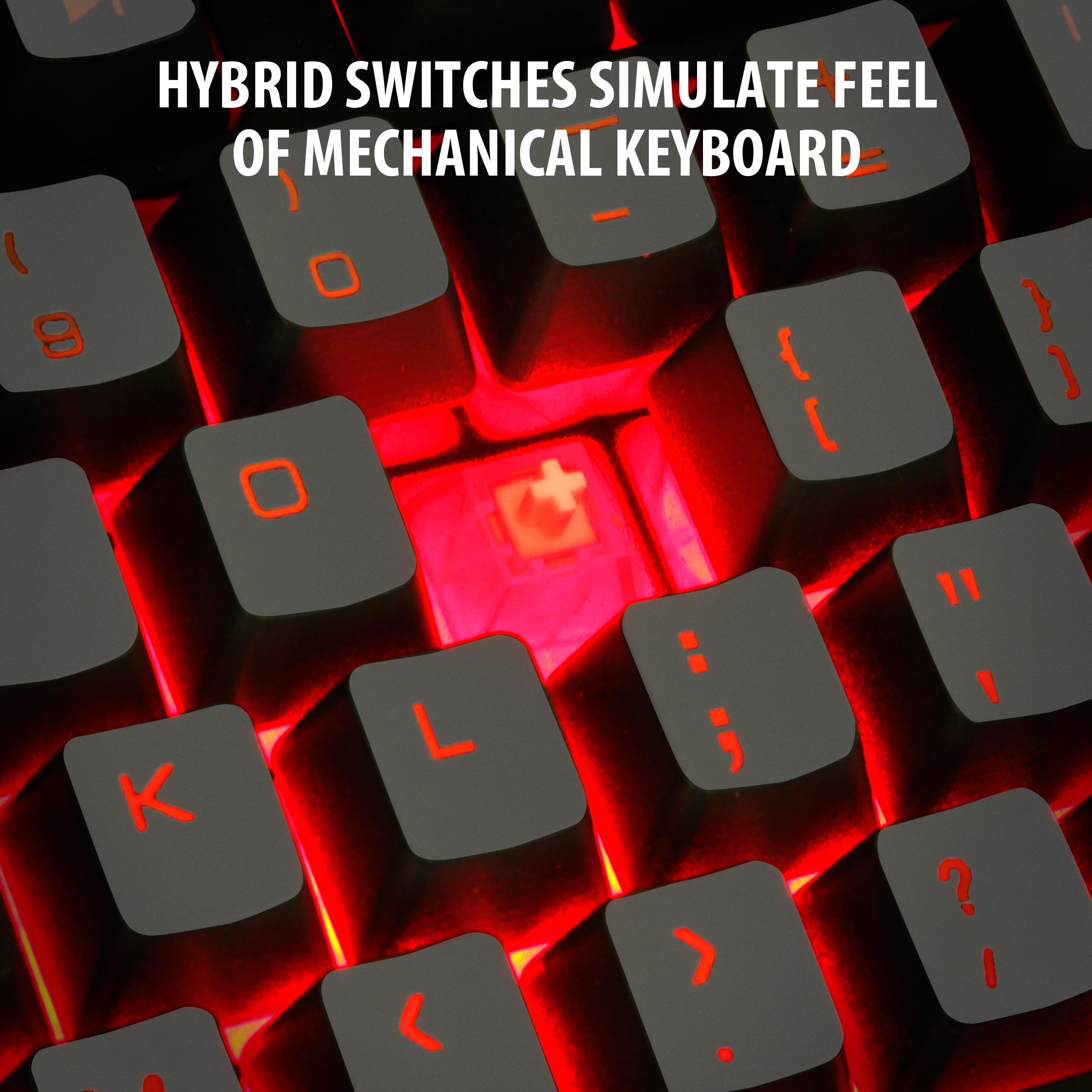 ENHANCE GX-K2 LED Gaming Keyboard with Hybrid Switches , 104+ Keys & 3 Switchable Backlight Colors 3