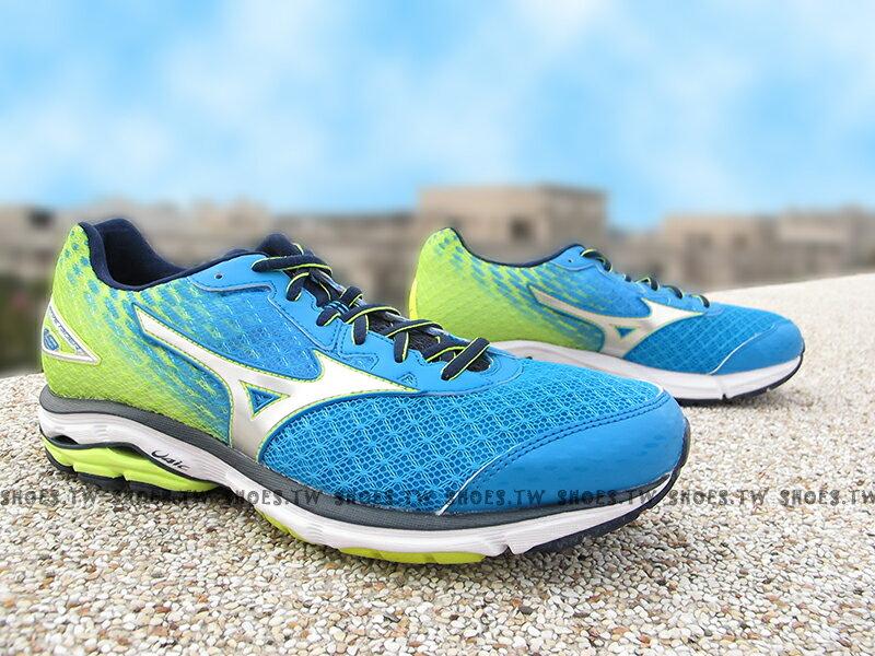 [29cm]《驚爆6折》Shoestw【J1GC160404】MIZUNO 美津濃 美金濃 WAVE RIDER19 藍螢光黃 男款 馬拉松