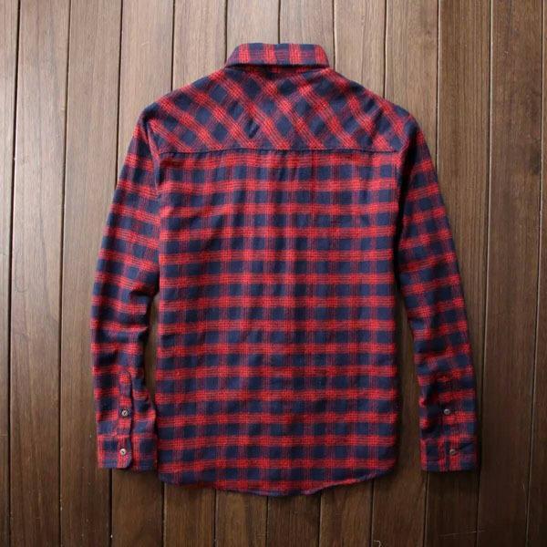 男士全棉法蘭絨格子長袖襯衫厚款青流行休閑襯衣潮1入