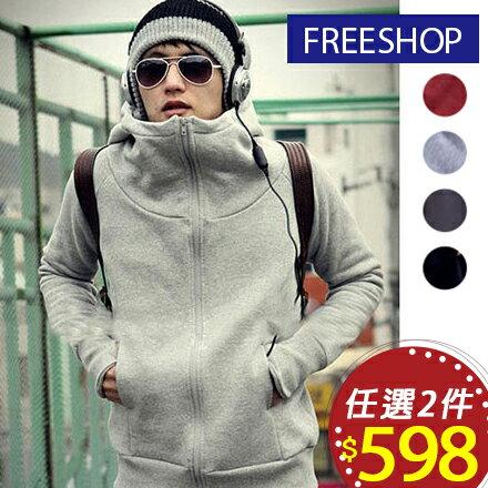 Free Shop 情侶可穿 日韓版街頭潮流露指加絨設計百搭基本款素面素色保暖刷毛連帽外套【QPPUK8084】