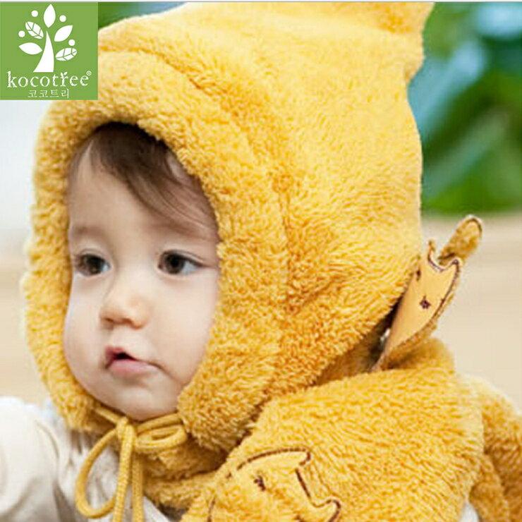 WallFree窩自在~ 可愛卡通老虎柔軟舒眠搖粒絨防寒兒童毛絨帽 圍巾 2件套