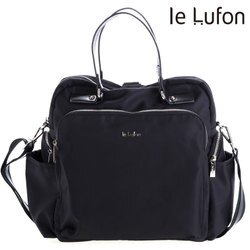 【le Lufon】黑色尼龍拼接皮革多層拉鏈兩側前口袋方形後背包 (XL)背包/手提包/斜背包/側背包/後背包