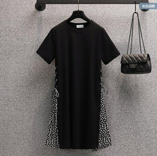 洋裝長版衣連身裙L-4XL中大尺碼大碼女裝洋氣連衣裙R06B.5016 果果輕時尚