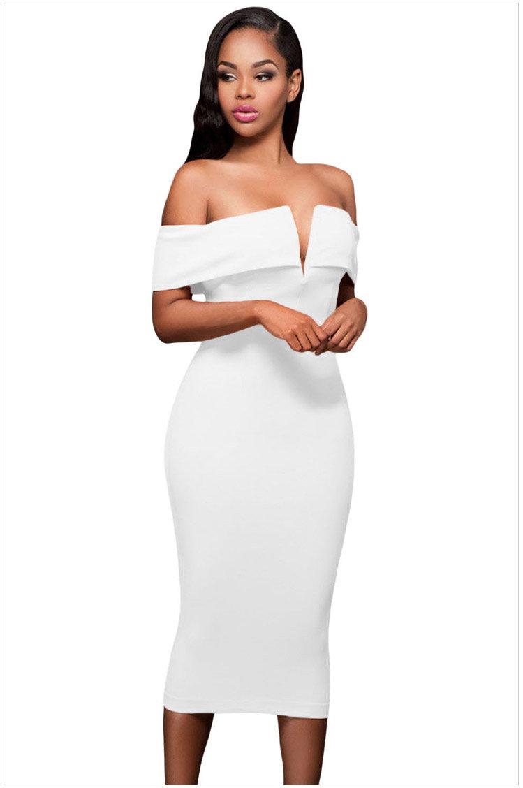 歐美新款宴會小禮服無袖低胸V領性感露肩包臀高腰及膝連身裙洋裝 6色 61221