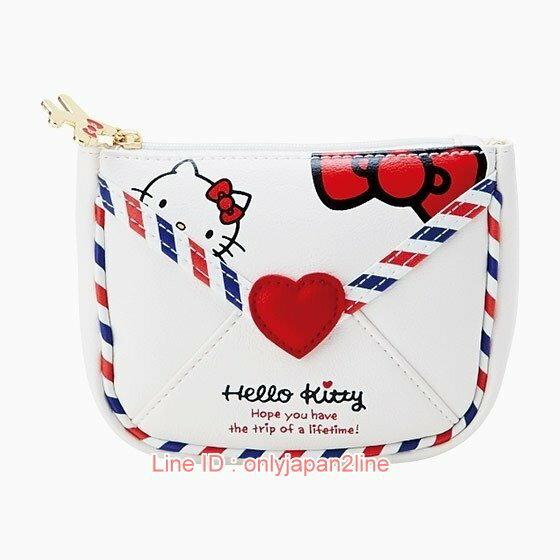 【真愛日本】17021500028  皮革面紙零錢包-KT旅行信封+AAB  三麗鷗 Hello Kitty 凱蒂貓   收納包 萬用包   正品