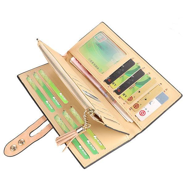 Synthetic Leather Card Holder Long Trifold Wallet Clutch Checkbook Tassel Handbag Purse 5