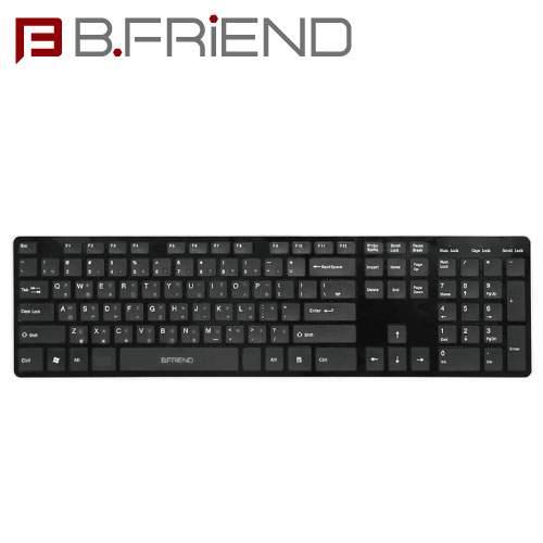 B.FRIEND 三區塊無線鍵盤 2.4G 剪刀腳 黑色 RF1430K-BK