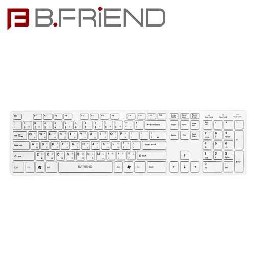 B.FRIEND 三區塊無線鍵盤 2.4G 剪刀腳 白色 RF1430K-WH