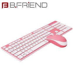 B.FRIEND三區塊無線鍵盤滑鼠組 粉紅色 剪刀腳RF1430PK