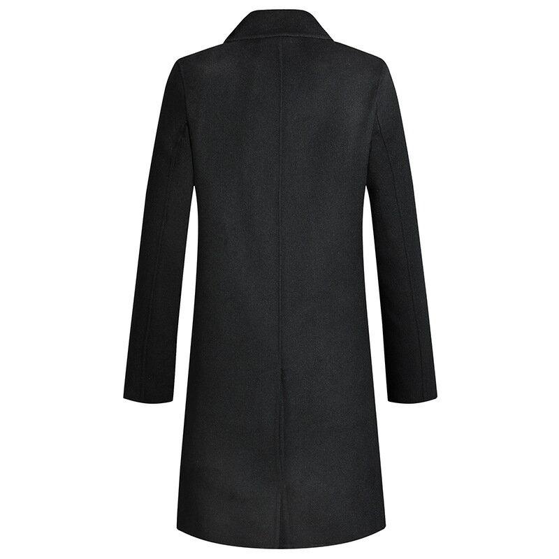 毛呢大衣中長版風衣-經典黑色雙排扣修身男外套73wk37【獨家進口】【米蘭精品】 1