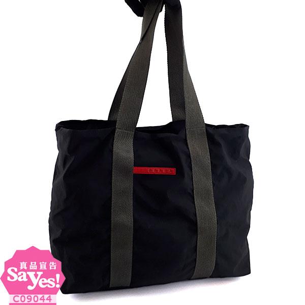 【奢華時尚】秒推推薦!PRADA SPORT 黑色輕量防水帆布肩背購物包(八成新)#21749