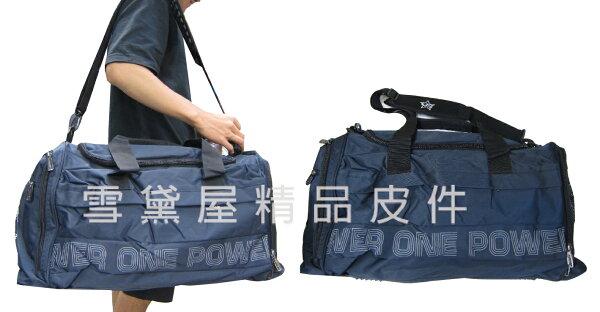 ~雪黛屋~POWER旅行袋運動袋大容量防水尼龍布可髒濕衣物分離設計壓扁收手提肩背斜側背附長背帶P8066