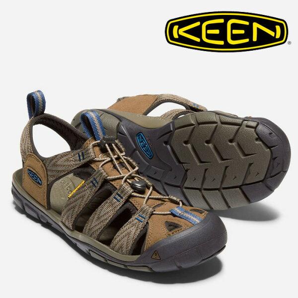 【Keen美國】CLEARWATERCNX越野護趾涼鞋運動涼鞋休閒涼鞋男款深咖灰藍/1018495