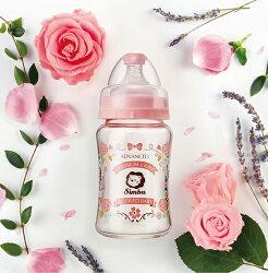小獅王蘿蔓晶鑽寬口玻璃小奶瓶(玫瑰)180ml【樂寶家】