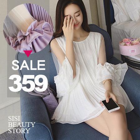 SiSi Girl:SISI【T6025】溫柔浪漫百褶網紗拼接花邊喇叭中袖雪紡中長款上衣連身裙