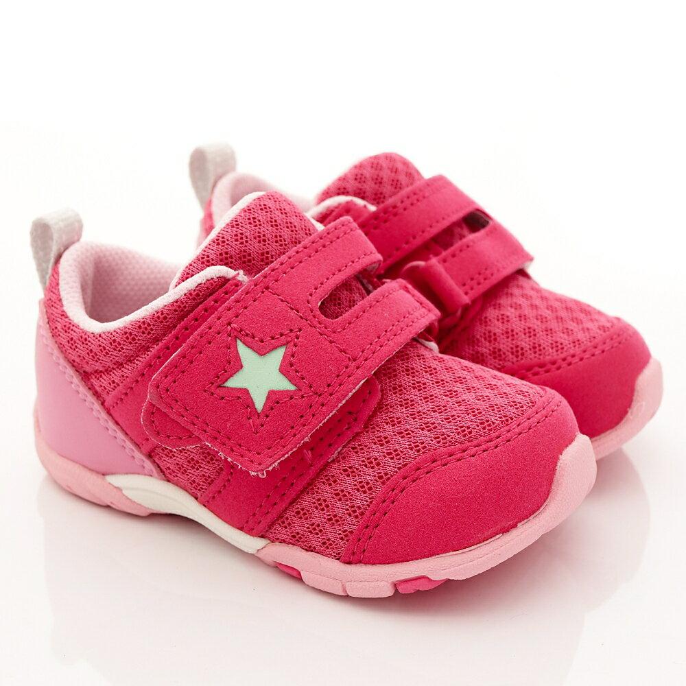 日本月星Moonstar機能童鞋四大機能系列寬楦頂級學步鞋款881桃紅(寶寶段) 618購物節