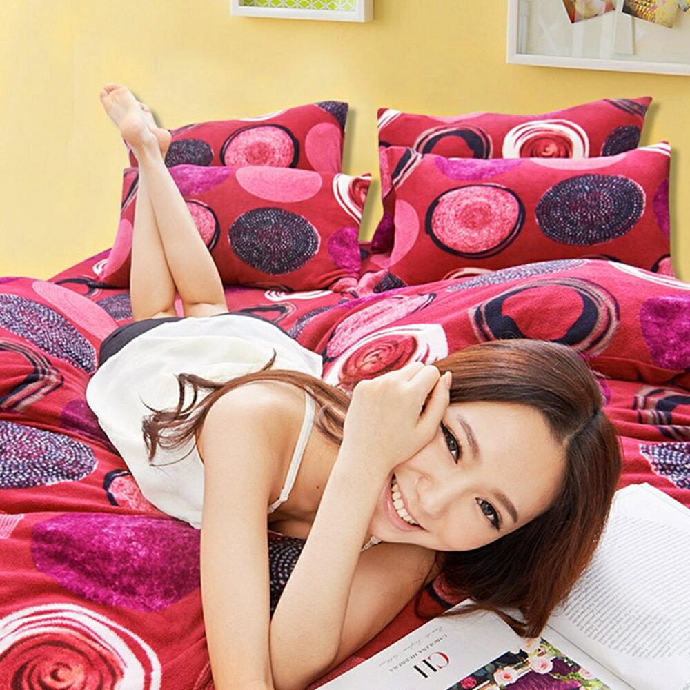 Pure One 超保暖搖粒絨 - 印象普普-紅 @ 單人三件式床包被套組 @ 台灣製 @ SGS檢驗合格 - 限時優惠好康折扣