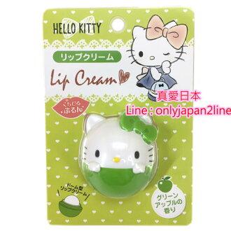 【真愛日本】16100100049造型香味護唇膏-KT青蘋果   三麗鷗 Hello Kitty 凱蒂貓 唇膏 唇部保養 滋潤