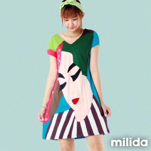 【Milida,全店七折免運】-夏季尾聲-拼貼款-古典人物插畫洋裝 0
