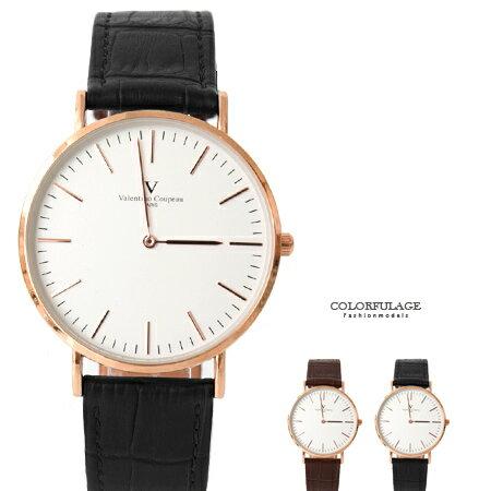 范倫鐵諾Valentino 極簡刻度真皮手錶腕錶 中性款 原廠公司貨 柒彩年代【NE1659】單支售價 0