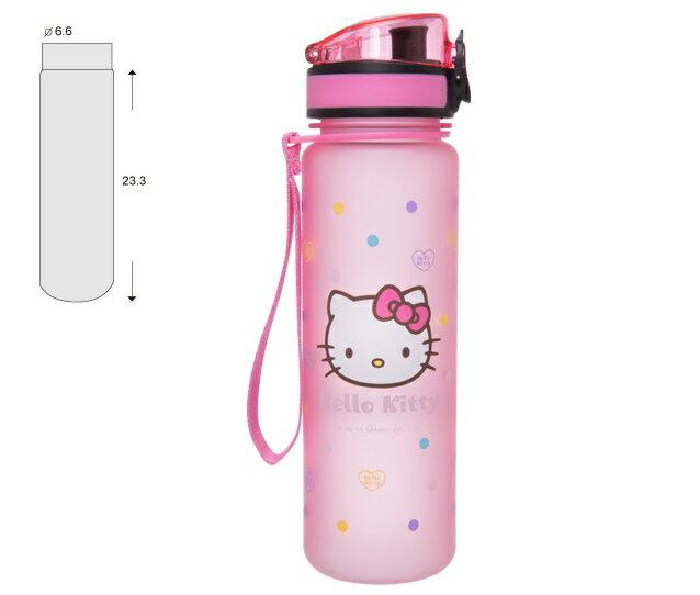 【真愛日本】16062800027怡寶彈蓋水壺500ml-彩色點點粉  三麗鷗 Hello Kitty 凱蒂貓 水壺  水瓶 茶壺