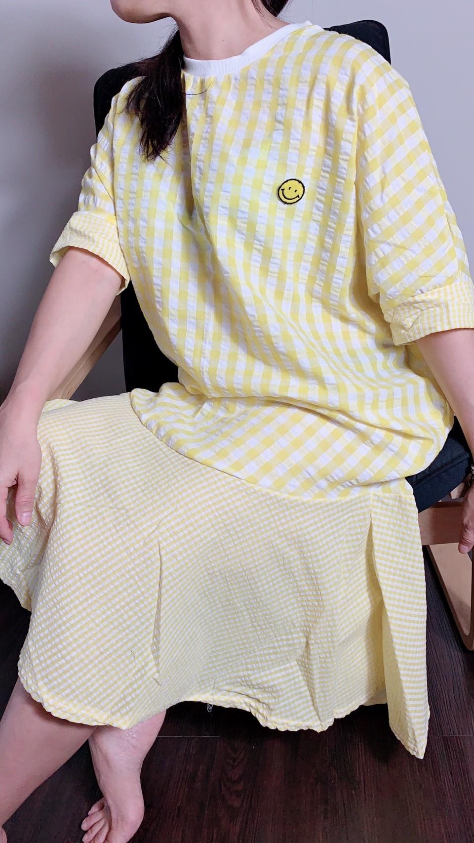 格子造型洋裝 藍色/黃色