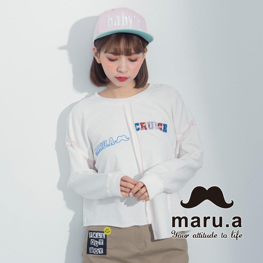 【maru.a】文字印花不對稱撞色車線T-Shirt  8321225 5