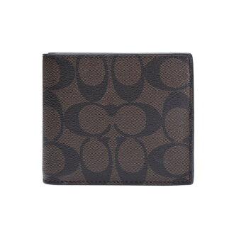 COACH F74993 男款黑色短款時尚經典印花對折錢包錢夾