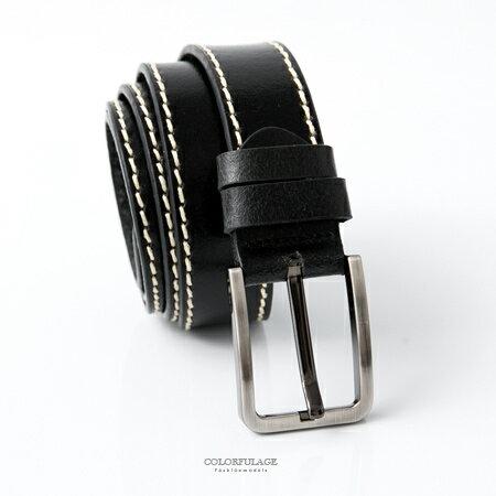 皮帶 基本黑米色車邊設計銀色方形扣頭腰帶 簡單風格 質感真皮材質 柒彩年代【NK96】時尚潮流 - 限時優惠好康折扣