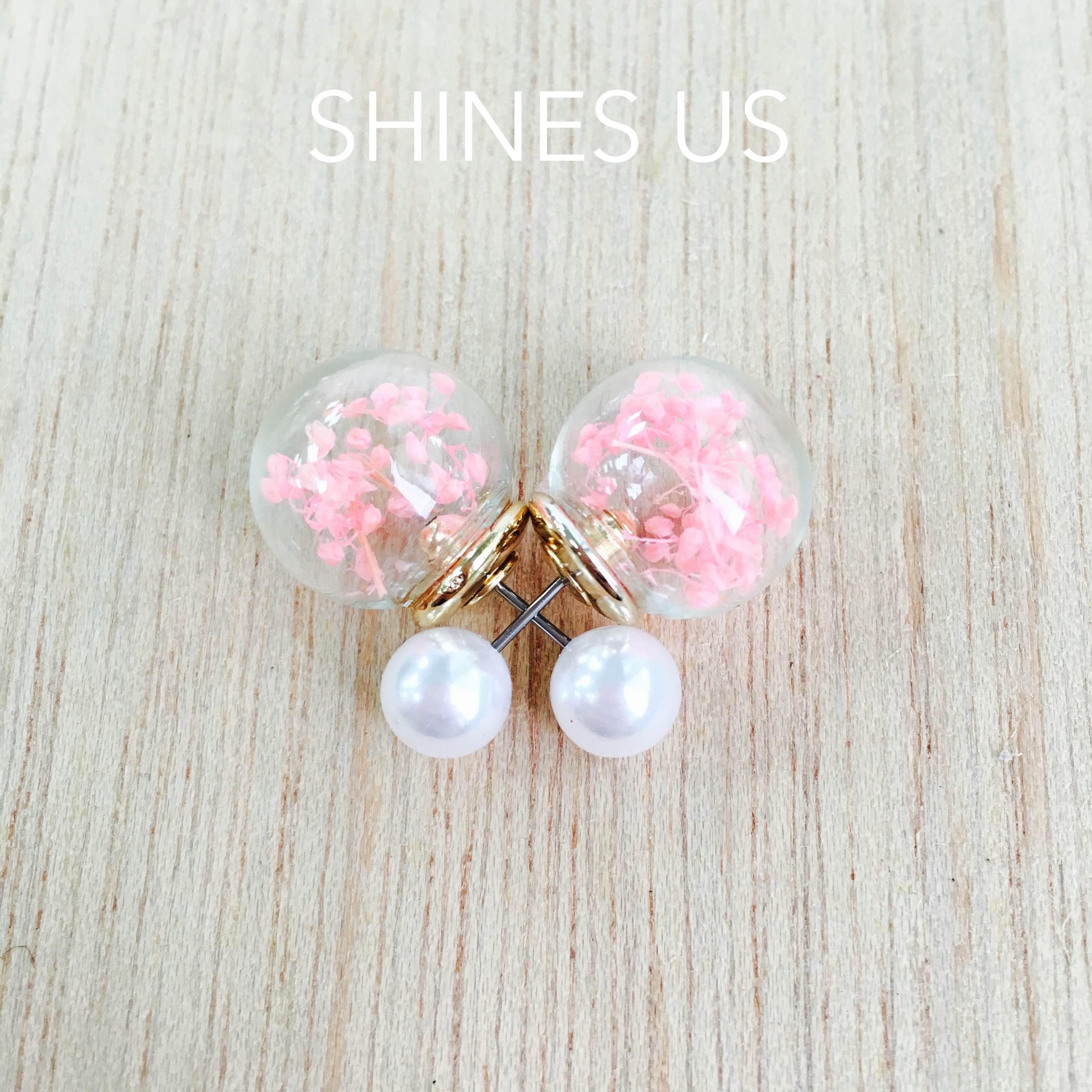 【SHINES US】正韓 小花花玻璃球雙面珍珠耳釘耳環