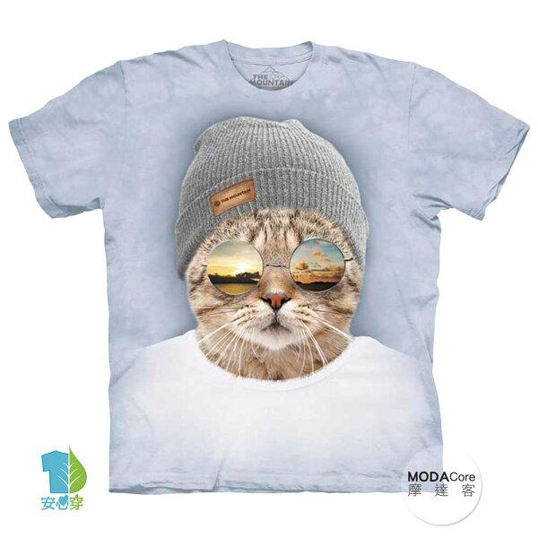 【摩達客】(預購)美國進口TheMountain墨鏡文青貓純棉環保藝術中性短袖T恤