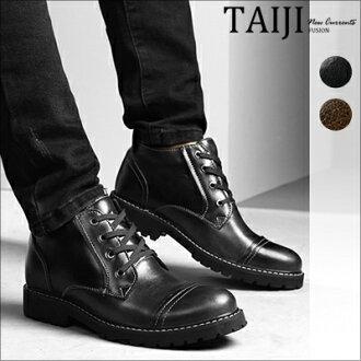 皮革短靴‧復古車線設計綁帶皮革短靴‧二色【NK9508】-TAIJI