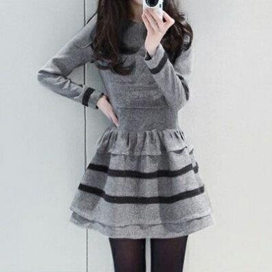 《全店75折》  修身顯瘦 條紋長袖傘擺洋裝(2色,S~2XL) - 梅西蒂絲(現貨+預購) 2