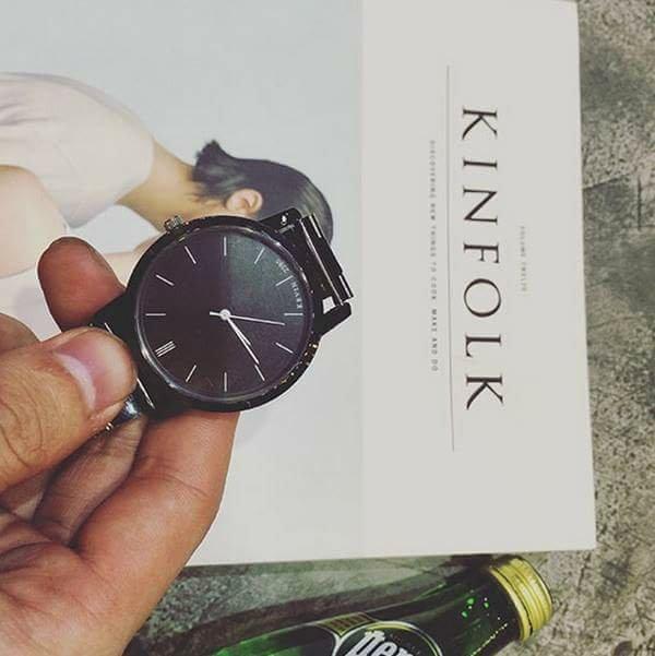 金典 全鋼 黑色 手錶 鋼錶 韓國 全素面 手錶 潮流暗黑 錶 非G SHOCK